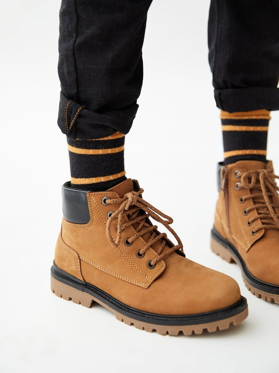 Lined Leather Boots  Boots Boy Shoes Kids by Zara