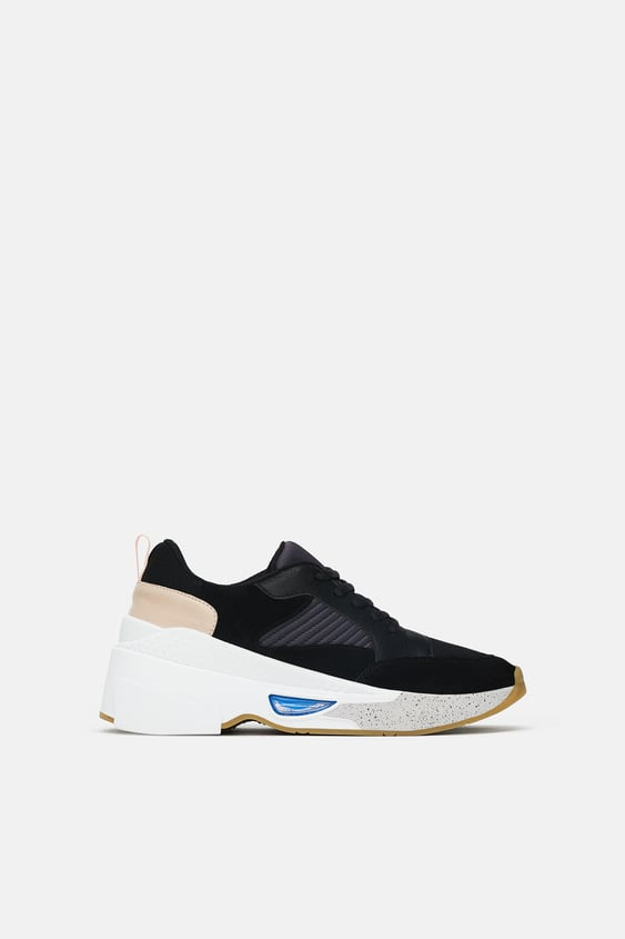 Contrasting Chunky Sole Sneakers View All Shoes Woman Sale Zara