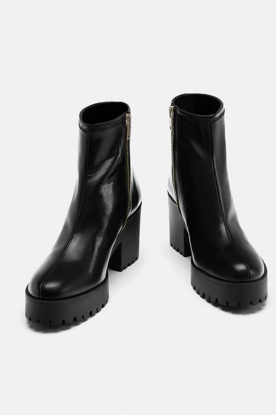 1404a64f LEATHER HIGH HEEL ANKLE BOOTS WITH TRACK SOLE - View all-SHOES-WOMAN ...