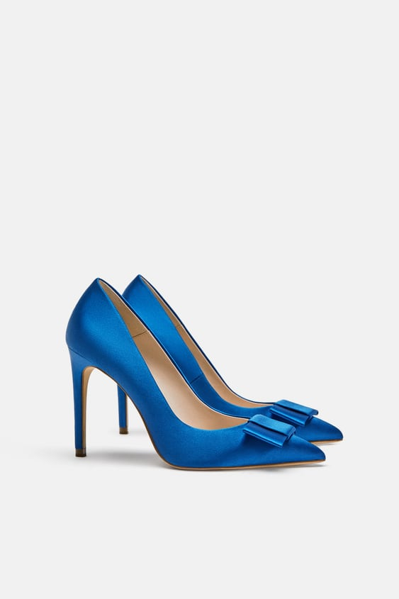 Satin Court Shoes With Bow High Heels Shoes Woman Sale Zara New