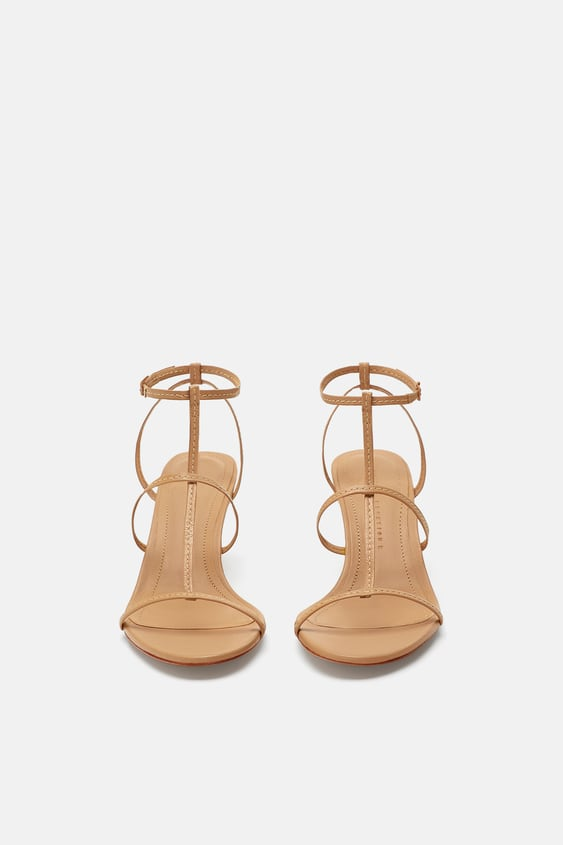 3e491783a9a27b Image 3 of LEATHER STRAPPY HIGH-HEEL SANDALS from Zara
