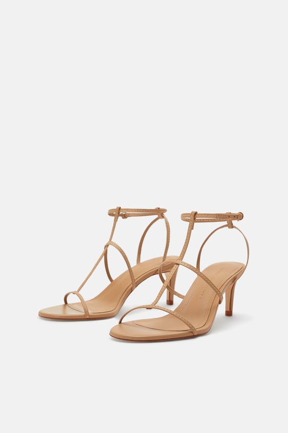 a73725fe64567d Image 1 of LEATHER STRAPPY HIGH-HEEL SANDALS from Zara