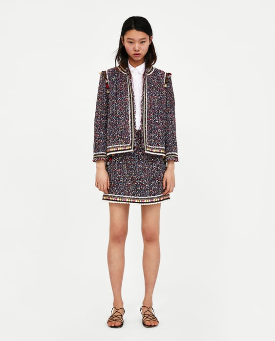 50728f6e Shoptagr   Tweed Skirt With Trims Skirts &Amp; Shortssale Woman by Zara