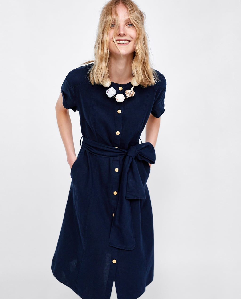 Image 2 of DRESS WITH BOW AND BUTTONS from Zara