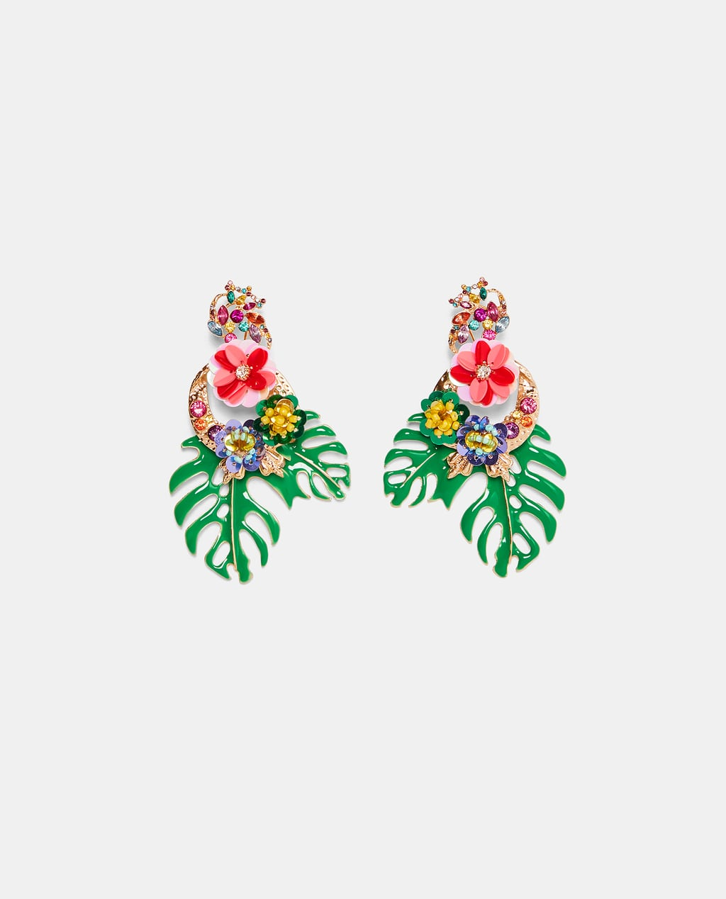 Image 1 Of Flower And Leaf Earrings From Zara