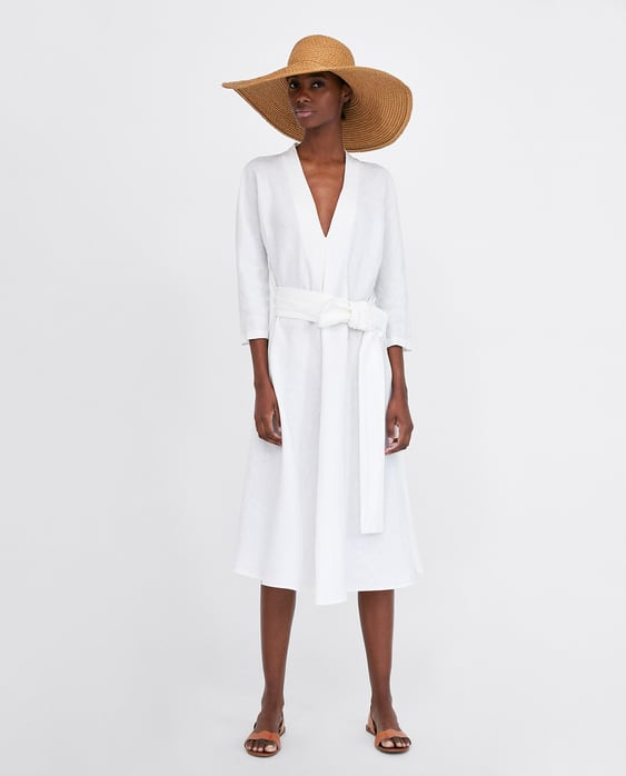 Image 1 of LINEN DRESS WITH BELT from Zara