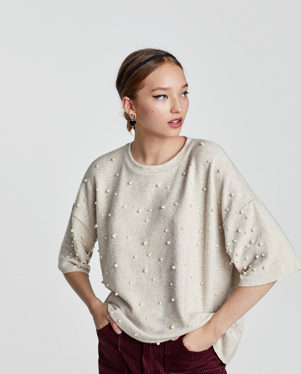 SOFT TOUCH SWEATER WITH FAUX PEARLS - COLLECTION-TRF-NEW ...