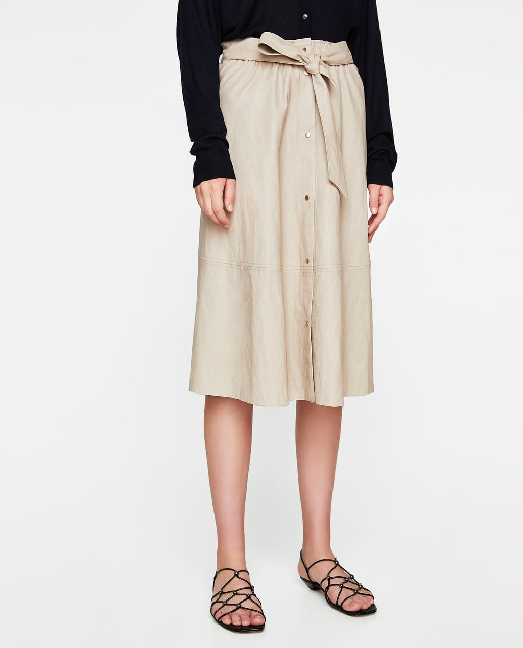 faux leather skirt with bow - skirts-woman | zara united states