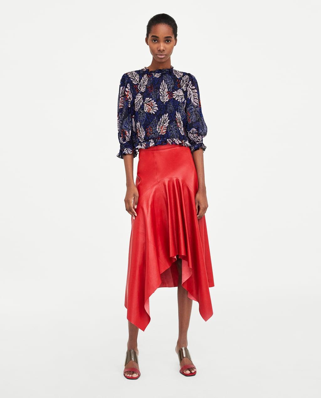 asymmetric leather skirt - view all-skirts-woman | zara united states