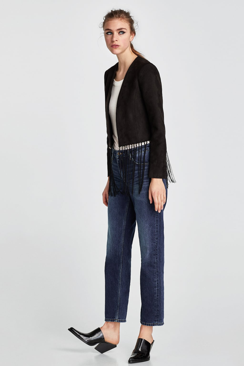 Image 1 of FRINGED FAUX SUEDE JACKET from Zara