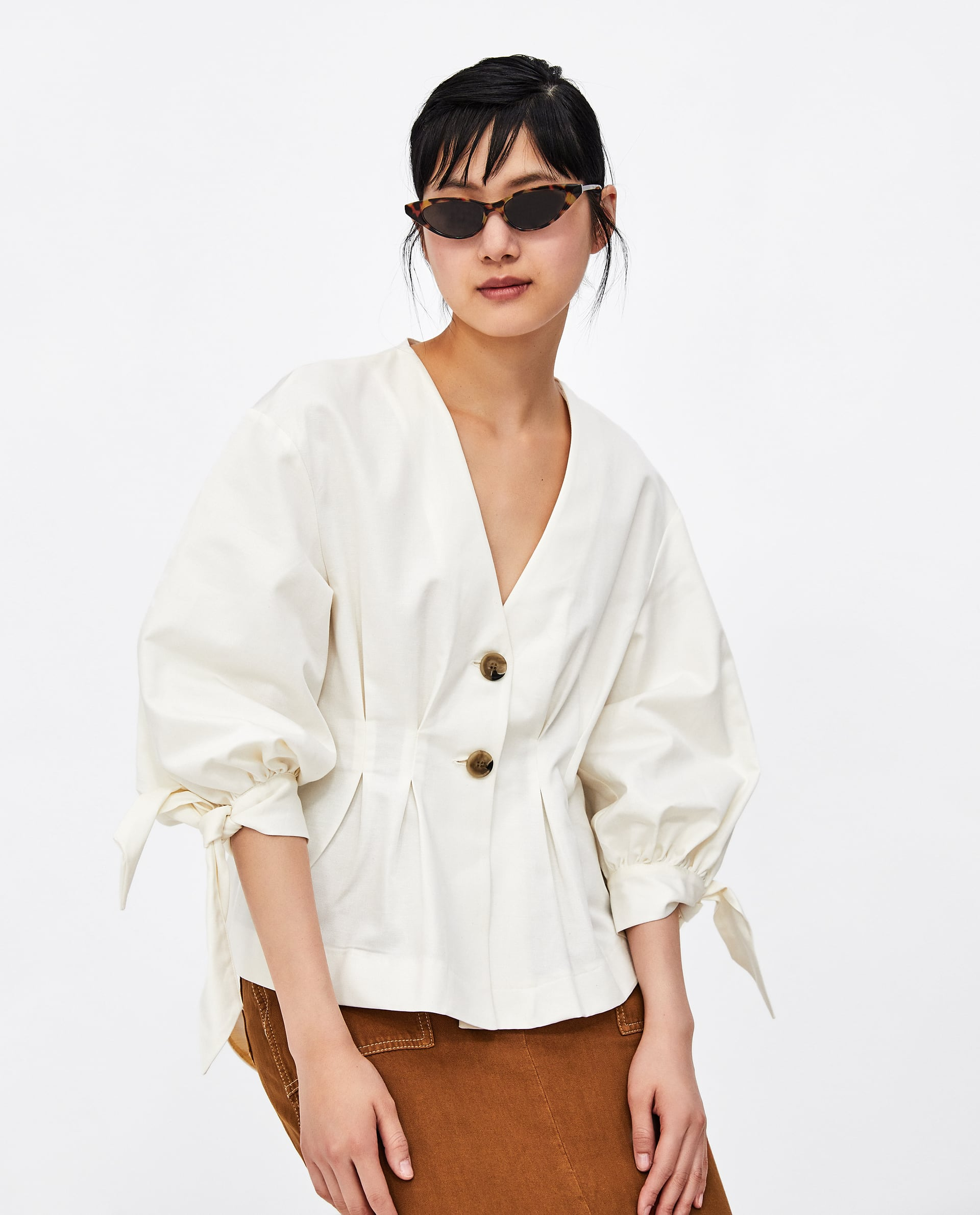 Image 2 of PLEATED LINEN TOP from Zara