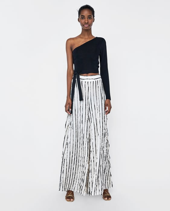 76dcb20b Shoptagr | Wide Leg Trousers With Contrasting Frills by Zara