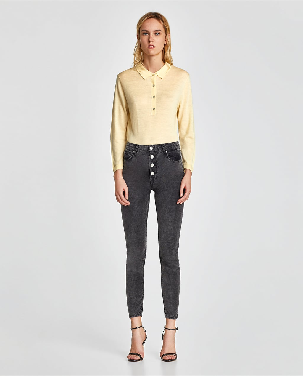 Corduroy grey jeans with button fly jeans sale woman zara indonesia image 1 of corduroy grey jeans with button fly from zara stopboris Images