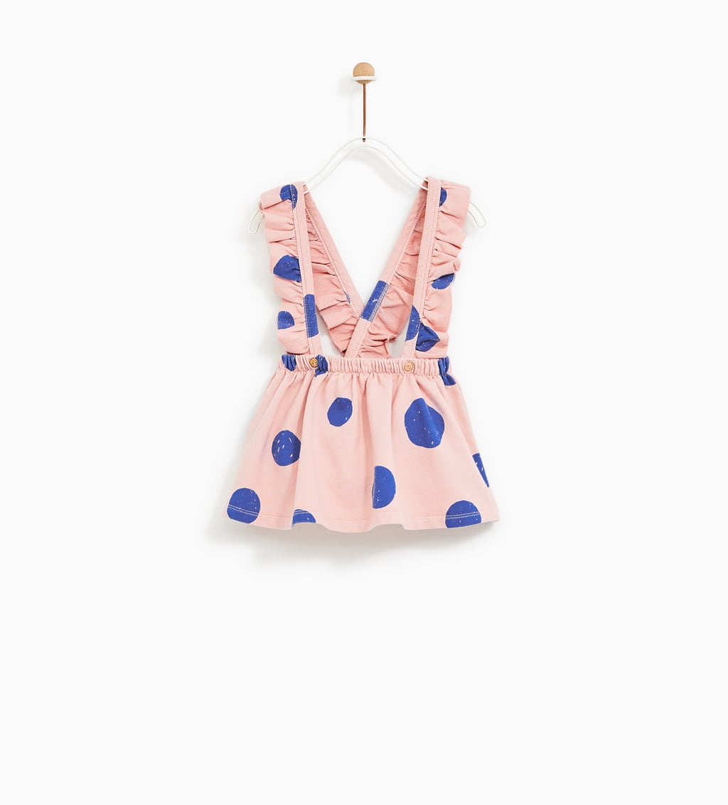 Image 1 of POLKA DOT SKIRT WITH RUFFLED BRACES from Zara