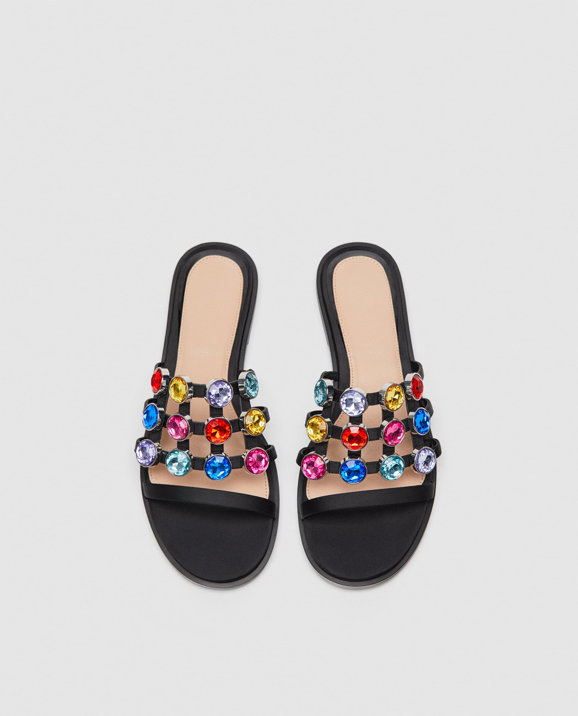 Image 4 of SLIDES WITH MULTICOLOURED BEJEWELLED DETAILING from Zara