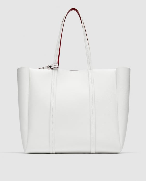 Reversible Tote Bag With Vertical Lines