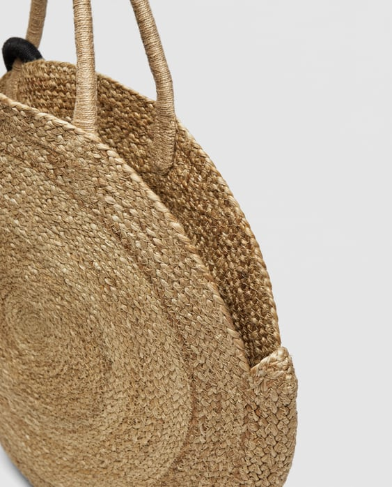 Image 7 Of Large Round Raffia Tote Bag From Zara