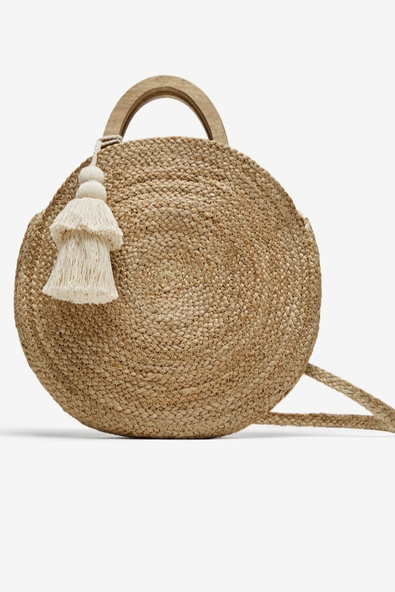 Image 1 Of Round Raffia Basket Bag From Zara