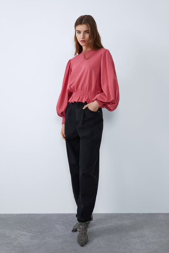 Zara BALLOON SLEEVE SWEATSHIRT PINK - 0962/868