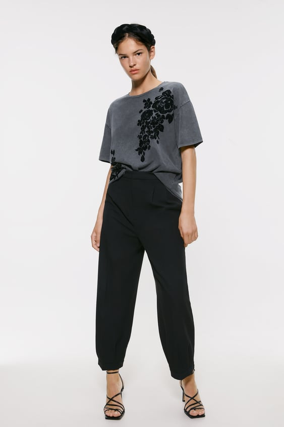 Faded  Effect Tshirt With Contrast Design New In Woman by Zara