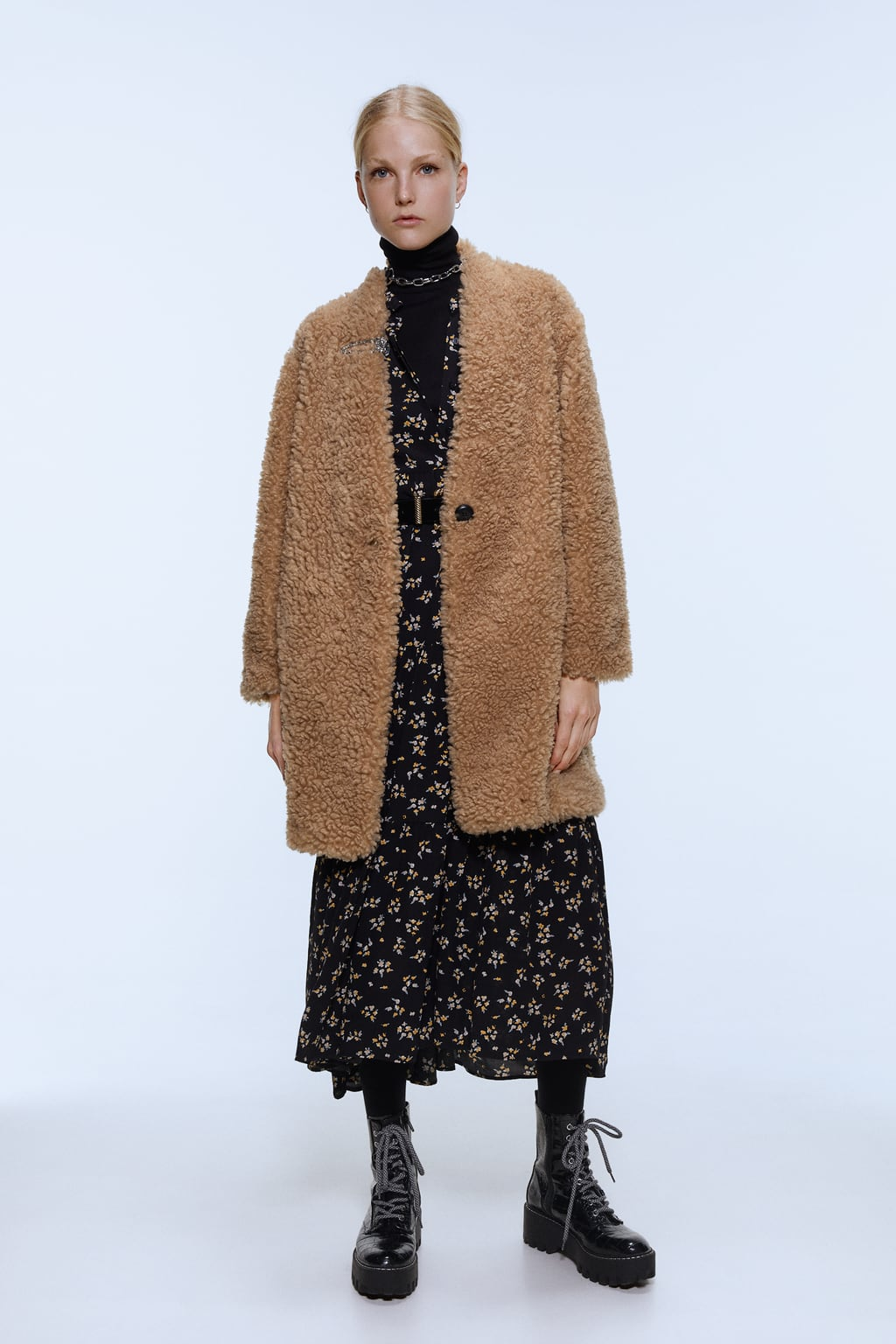 Image 1 of FAUX SHEARLING COAT from Zara