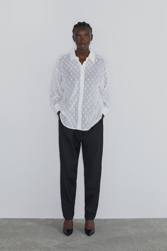 Oversized Blouse With Embroidered Dots  View All Shirts by Zara