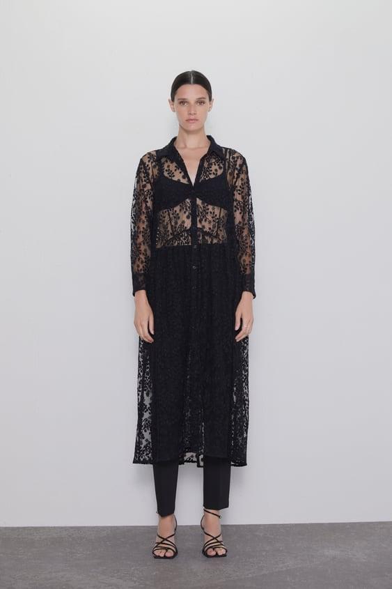 Leicht Transparentes Hemdblusenkleid by Zara