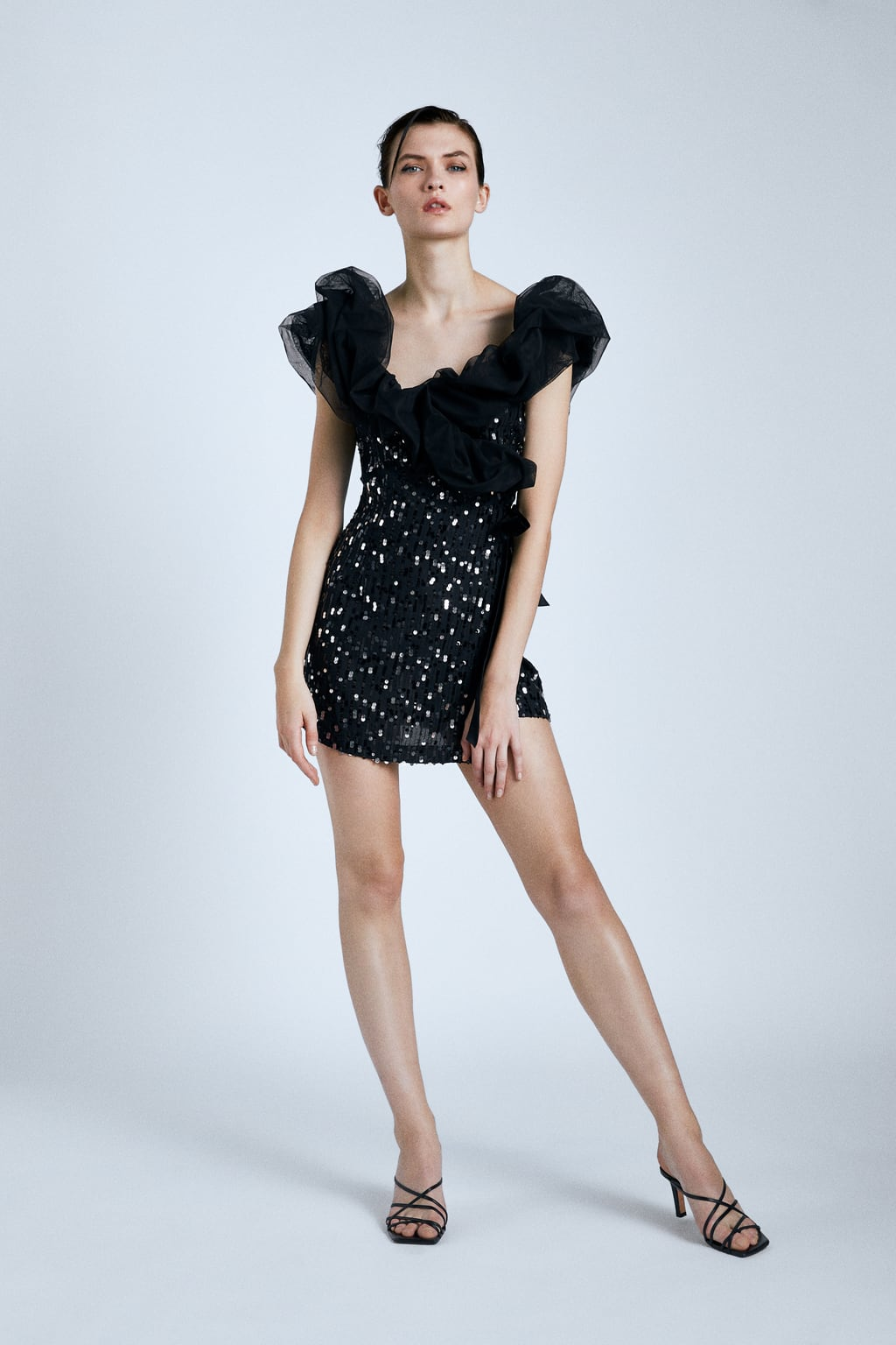 Image 1 of CONTRAST SEQUINNED DRESS from Zara