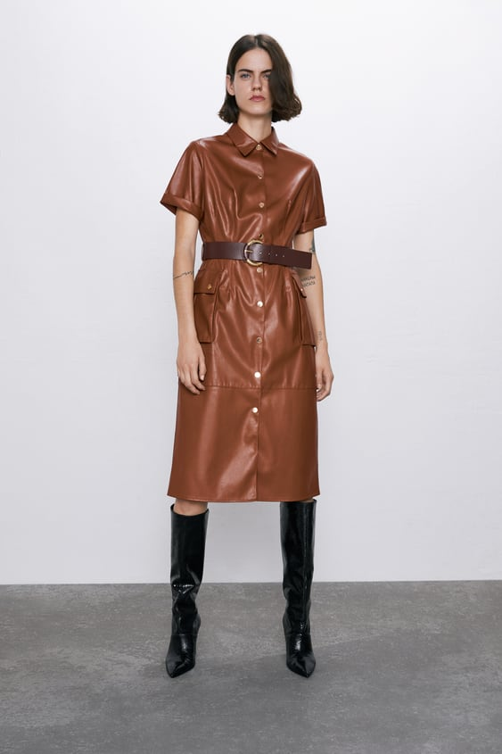 Faux Leather Dress  View All Dresses Woman by Zara