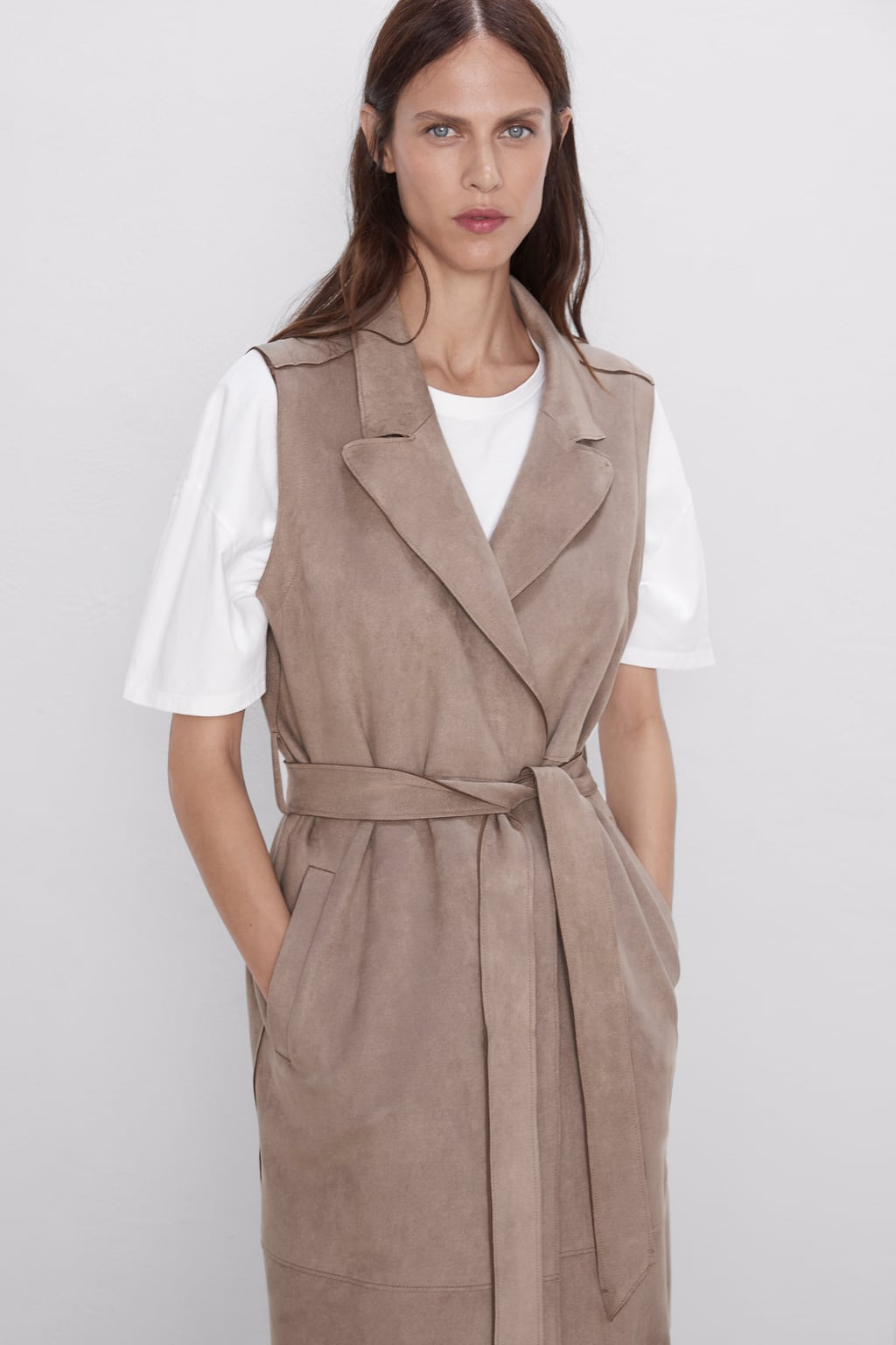 Image 4 of FAUX SUEDE WAISTCOAT from Zara