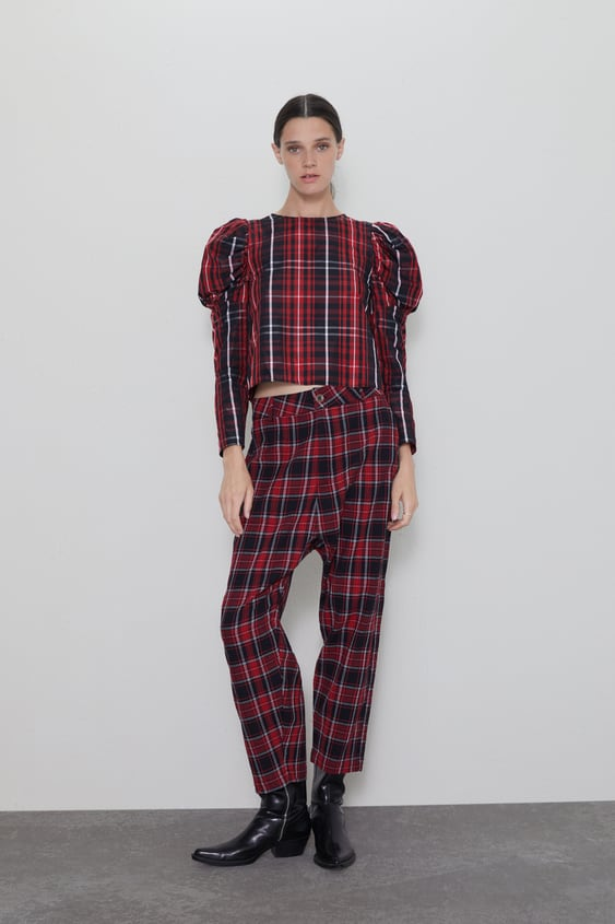 6e596d5f41 CHECK BAGGY TROUSERS