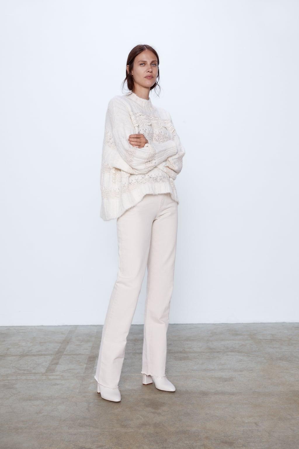 Contrasting Mock Neck Sweater by Zara