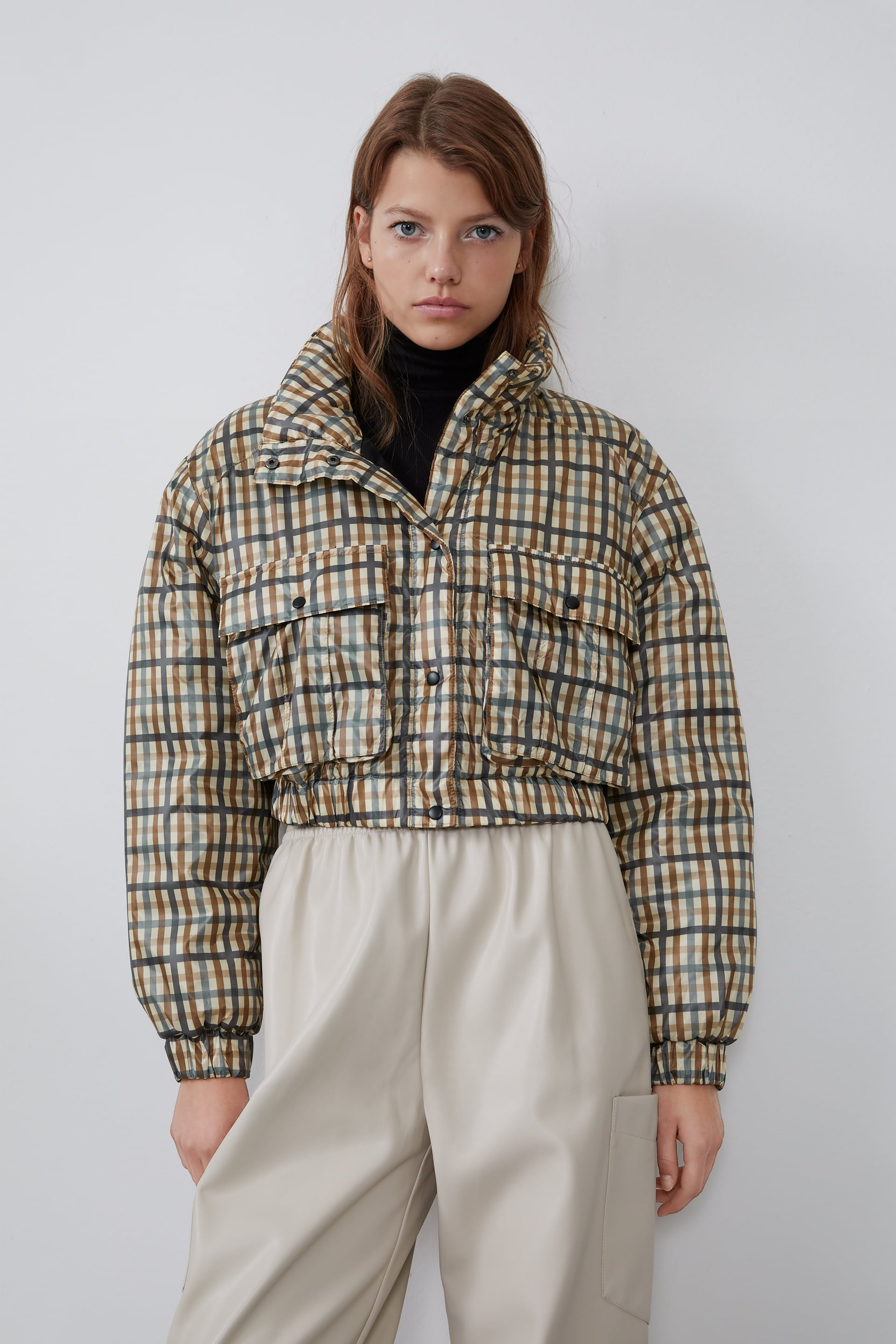 Image 2 of CHECK CROPPED JACKET from Zara