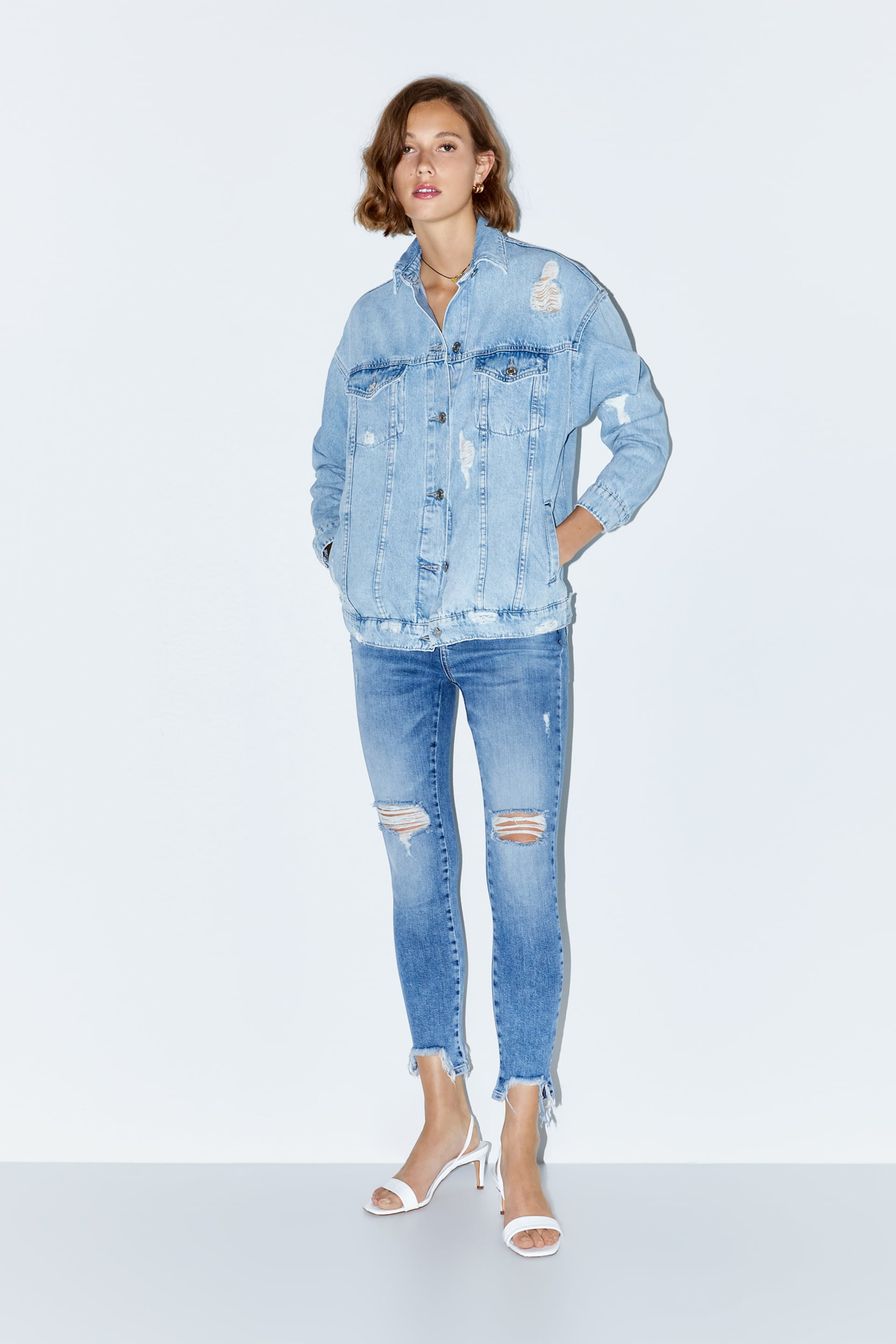 harmonious colors most reliable attractivedesigns OVERSIZED RIPPED DENIM JACKET