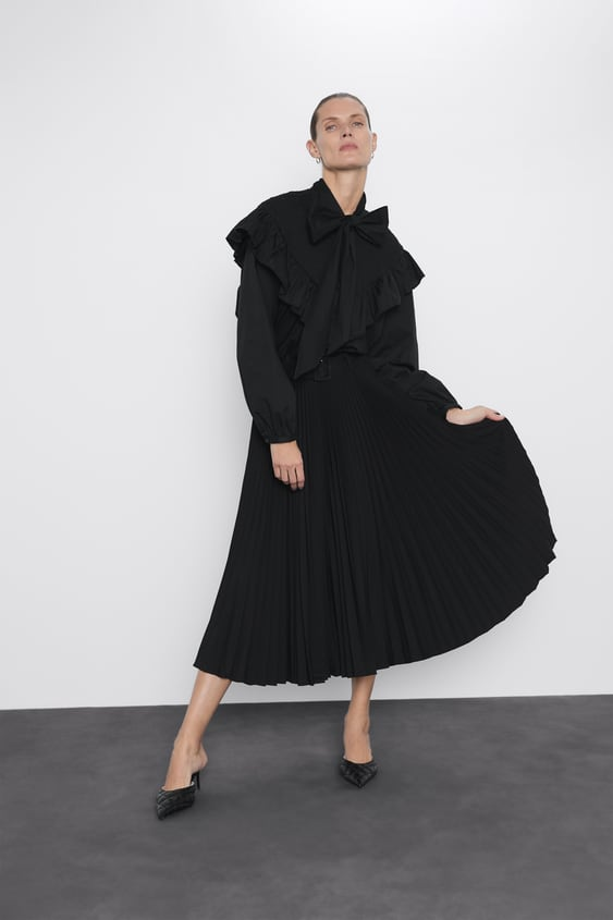Belted Pleated Skirt View All Skirts Woman by Zara
