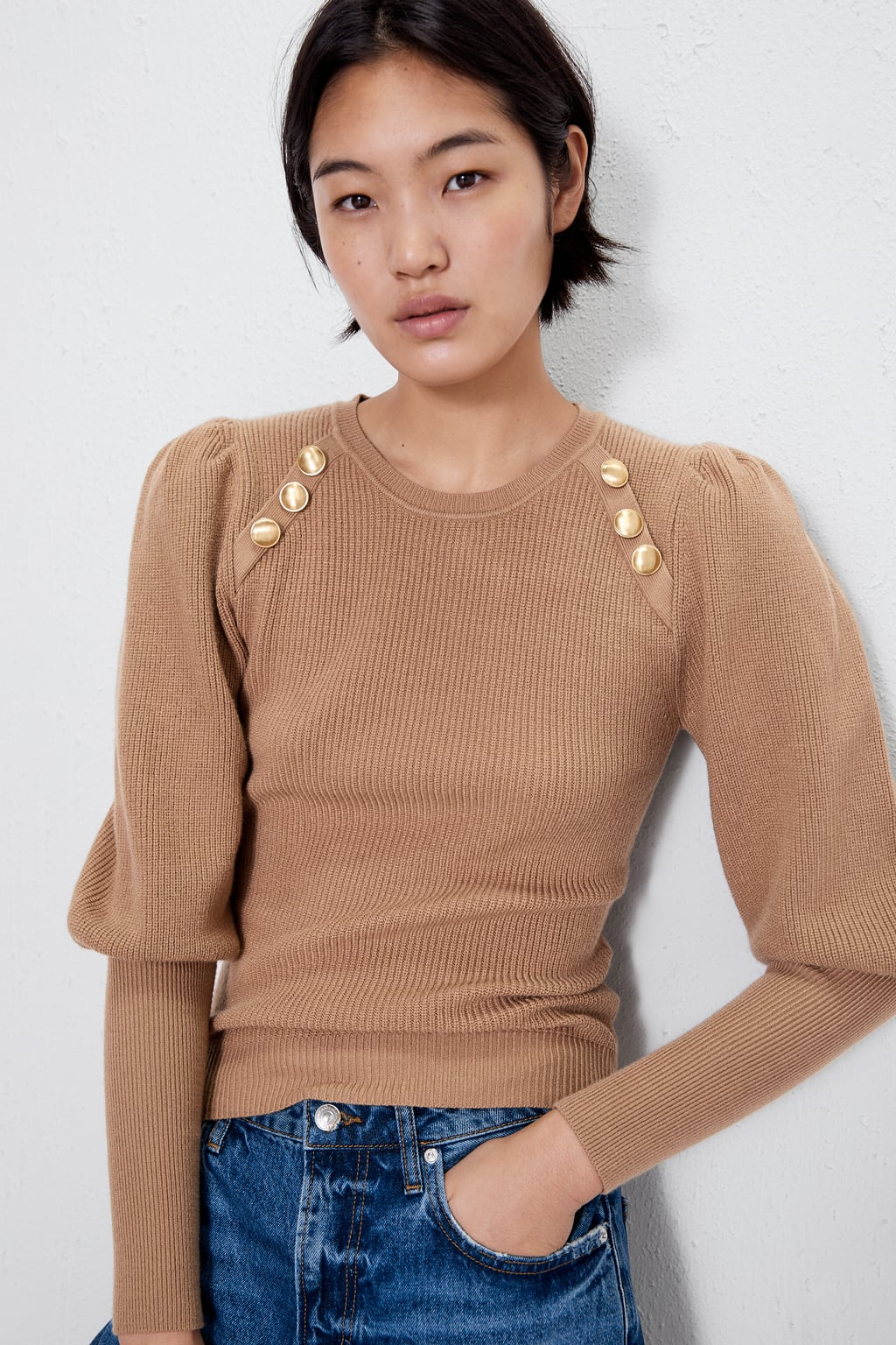 Image 2 of SWEATER WITH GOLD BUTTONS from Zara