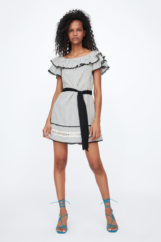 41855d00 BELTED DRESS WITH RUFFLES - DRESSES-WOMAN-NEW COLLECTION | ZARA ...