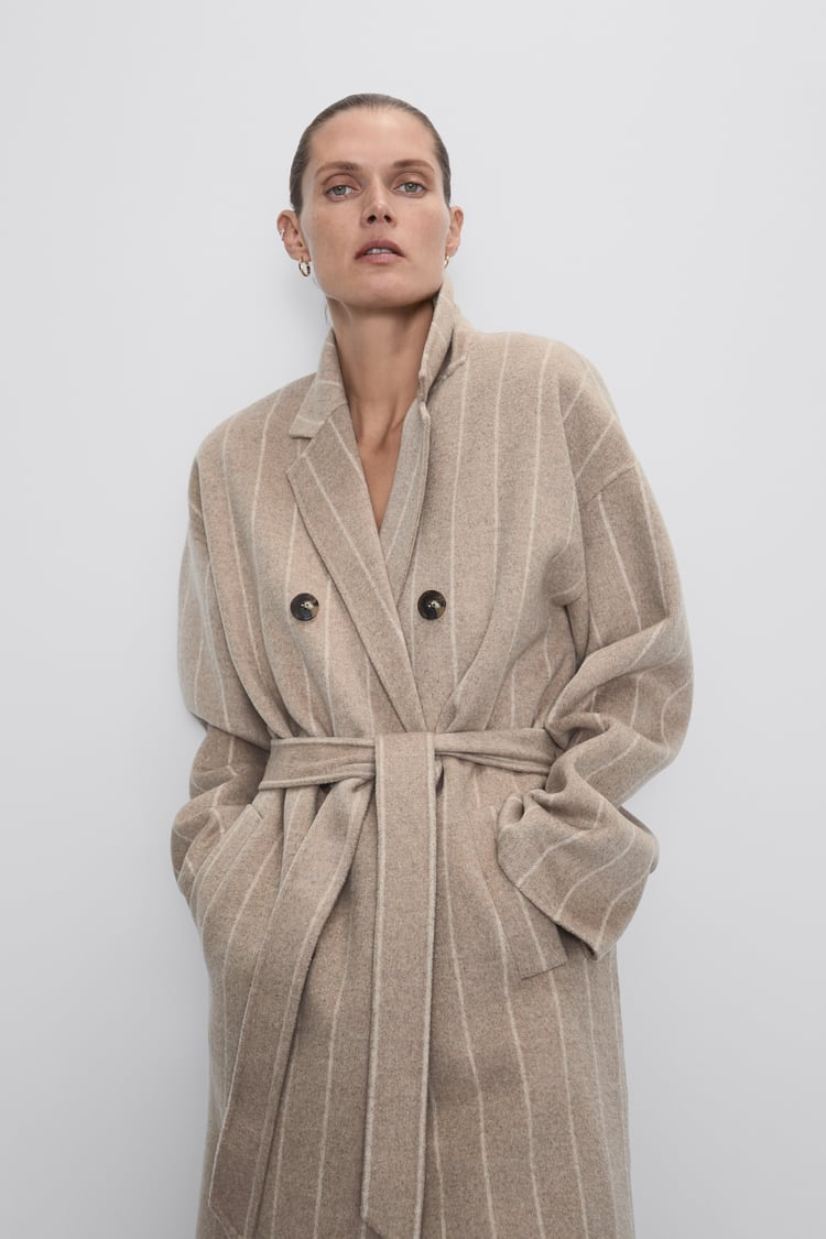 Image 3 of STRIPED COAT WITH BELT from Zara