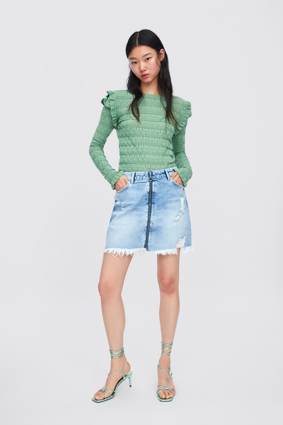 aa5e3397c2 RIPPED DENIM SKIRT WITH ZIP - SKIRTS-WOMAN-NEW COLLECTION | ZARA ...