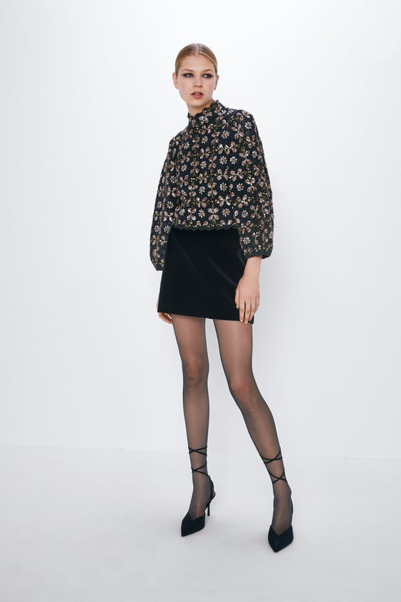 Limited Edition Textured Sweater With Sequins by Zara