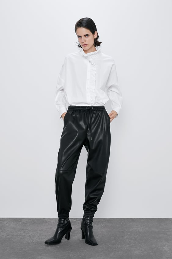 Faux Leather Jogging Trousers  View All Trousers Woman by Zara