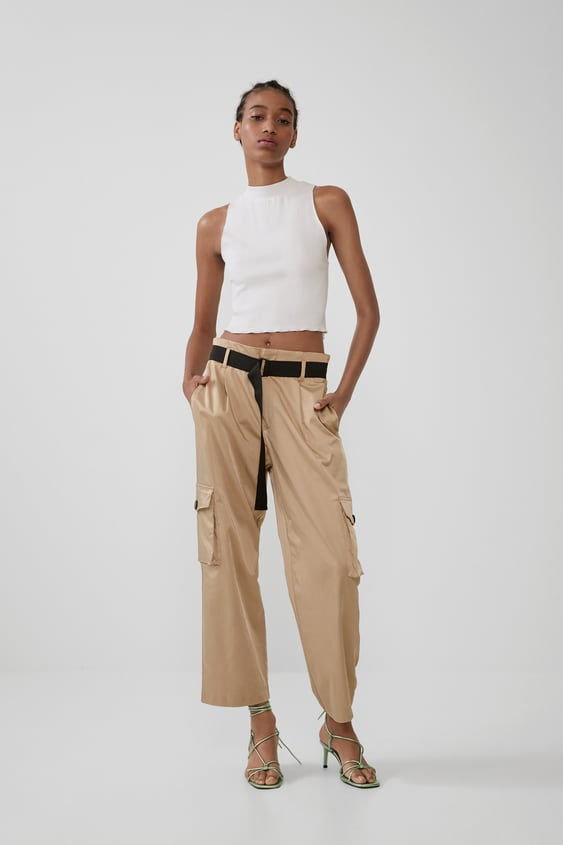 Satin Trousers With Belt by Zara