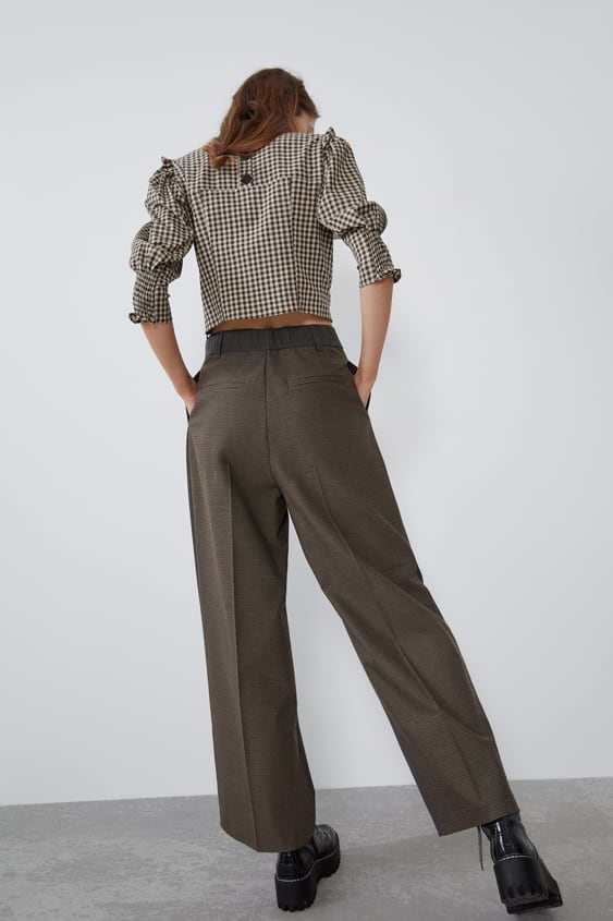 Contrast Check Suit Trousers  New Intrf by Zara
