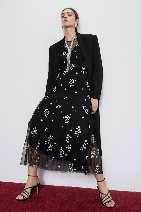 Tulle Dress With Embroidered Flower by Zara