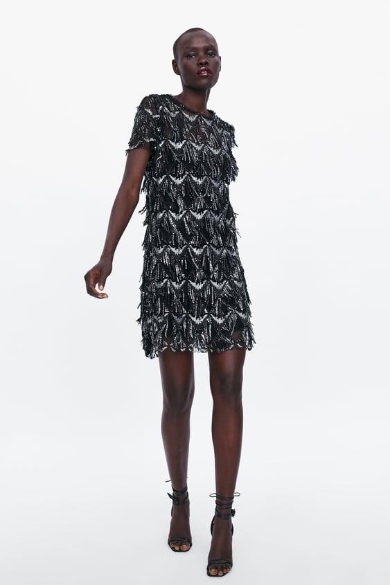 d2e0f8b8 Shoptagr | Fringed Sequin Dress Mini Dresses Woman by Zara