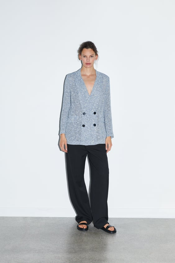740592891f DOUBLE BREASTED TEXTURED WEAVE BLAZER