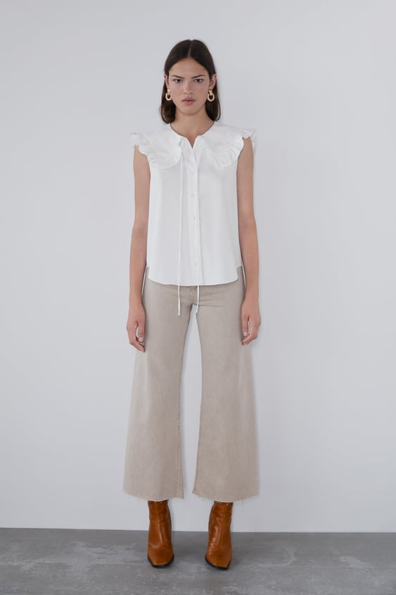 Poplin Blouse With Peter Pan Collar View All Shirts by Zara