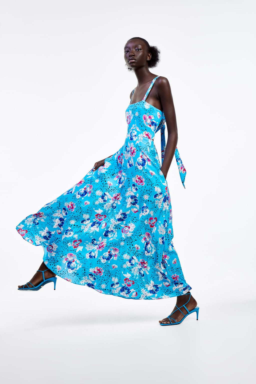 Image 1 of PRINTED STRAPPY DRESS from Zara