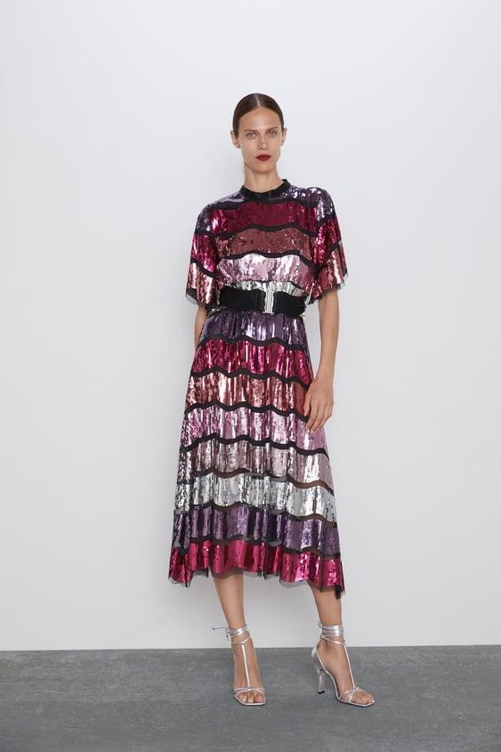fournir beaucoup de meilleure vente les mieux notés dernier LIMTED EDITION BELTED SEQUIN DRESS