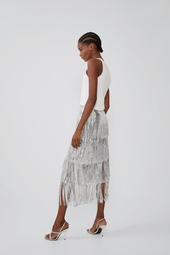 55fc8ffa62 LIMITED EDITION FRINGED SEQUIN SKIRT